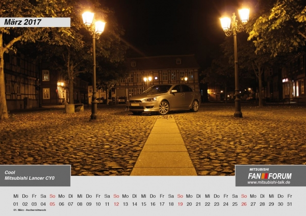 2017 Kalender des Mitsubishi Fan Forums MFF
