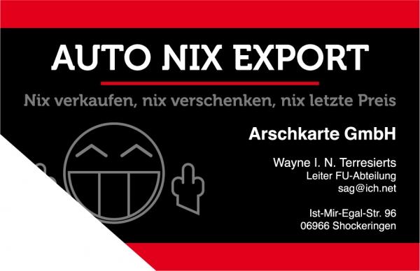 Auto Nix Export Fast Echte Visitenkarte